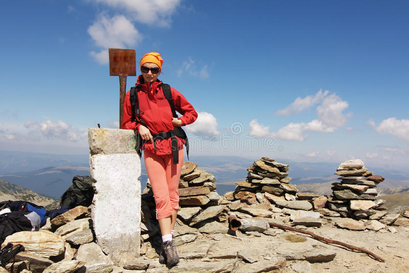 Hiker on the summit royalty free stock images