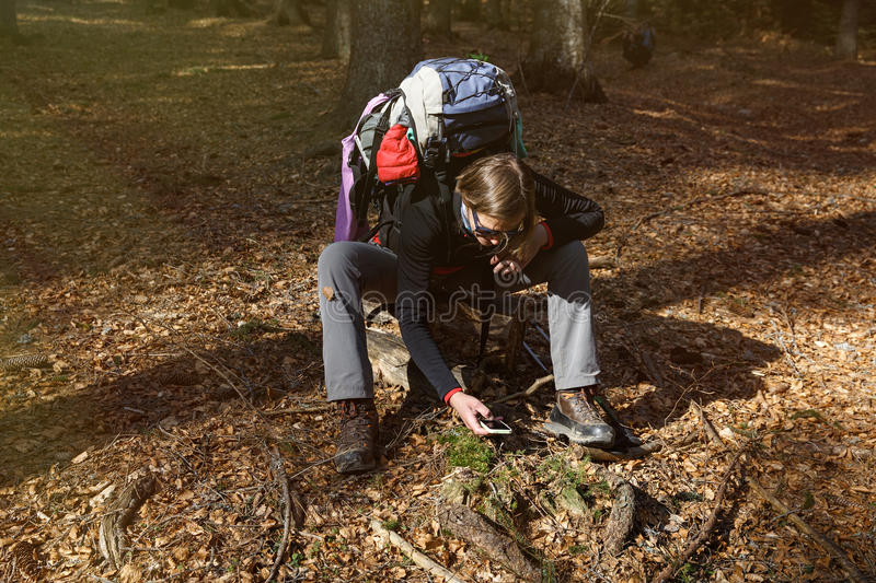 Hiker taking photographs on her hike through the woods royalty free stock image