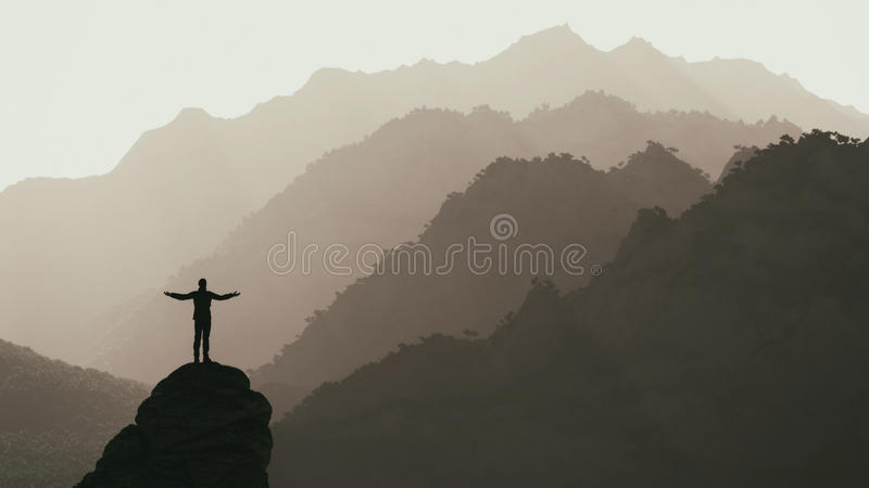 Hiker on the top of a mountain royalty free illustration