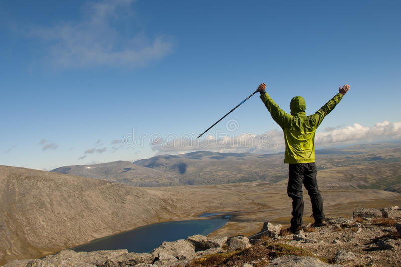Hiker on top stock photography