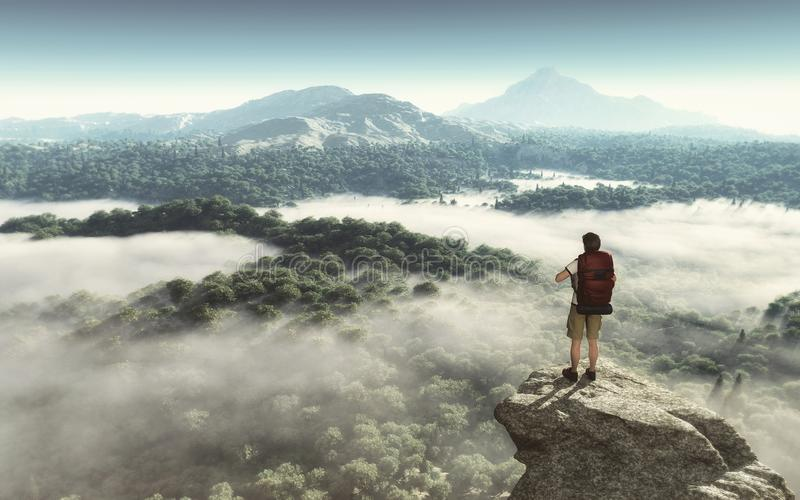 Hiker on the top of the mountain looking at the landscape stock illustration