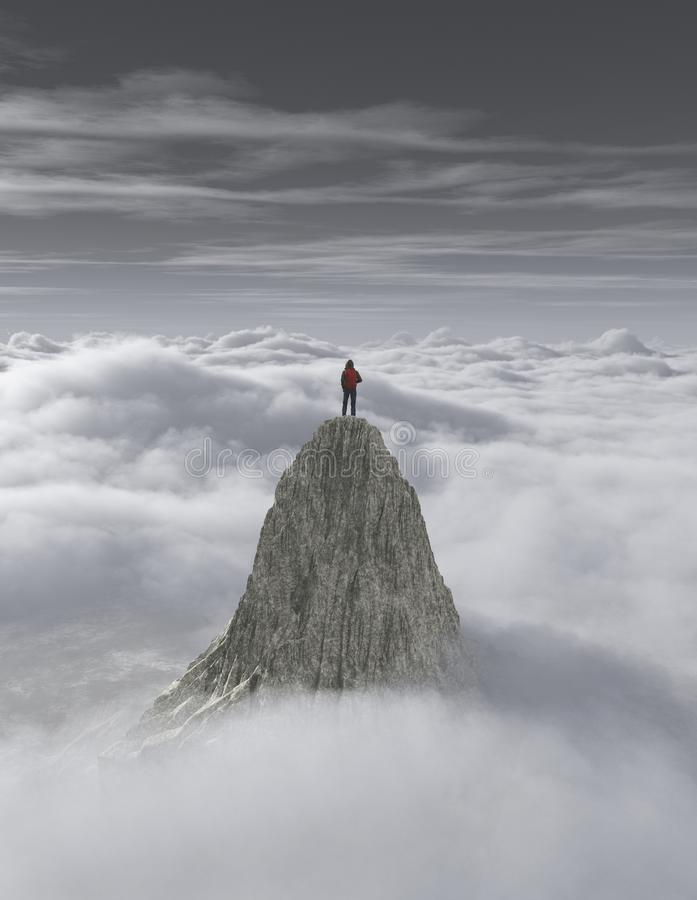Hiker on top of a mountain over a cloud. royalty free illustration