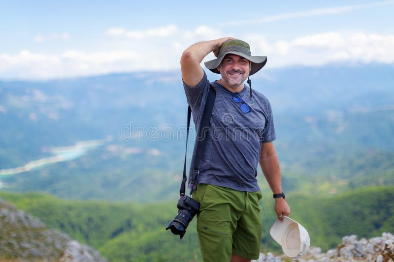 Mountain hiker photographer royalty free stock photography