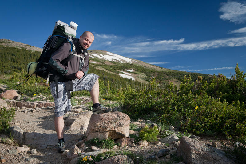 Hiker On Trail royalty free stock photo