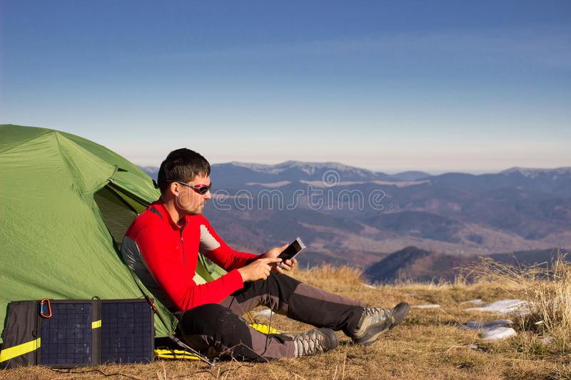 Hiker trekking in the mountains. royalty free stock photo
