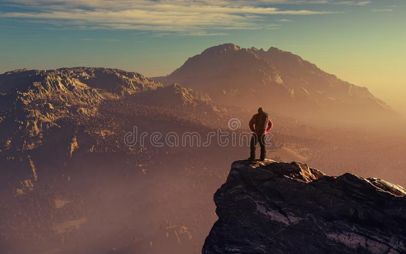 Hiker up the mountain cliff. Hiker up on mountain cliff admire mountain scenery at the sunset royalty free stock images