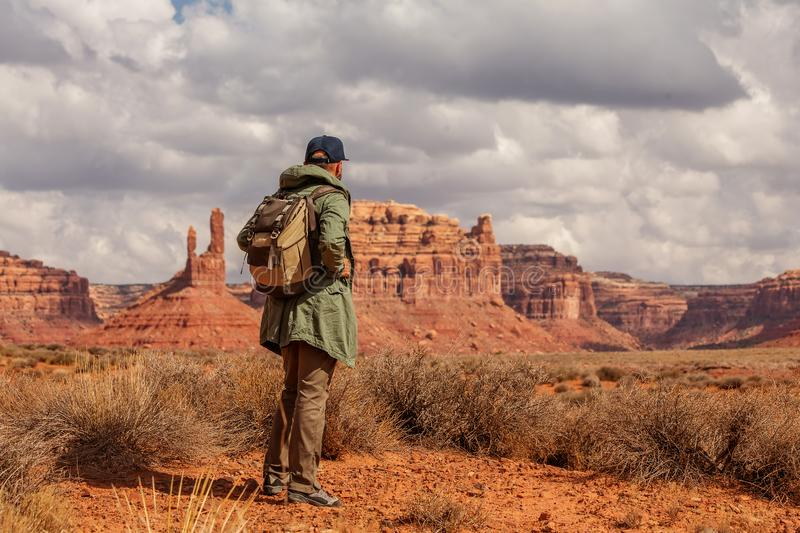 Hiker in Valley of Gods, USA royalty free stock image