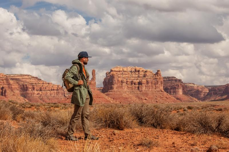Hiker in Valley of Gods, USA royalty free stock photo