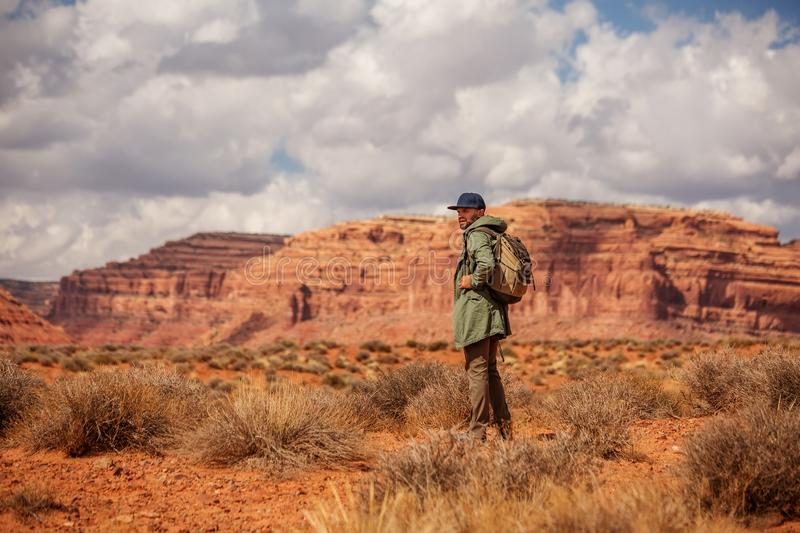 Hiker in Valley of Gods, USA royalty free stock images