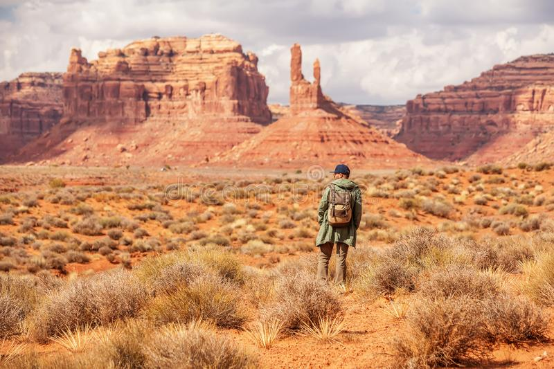 Hiker in Valley of Gods, USA stock photos