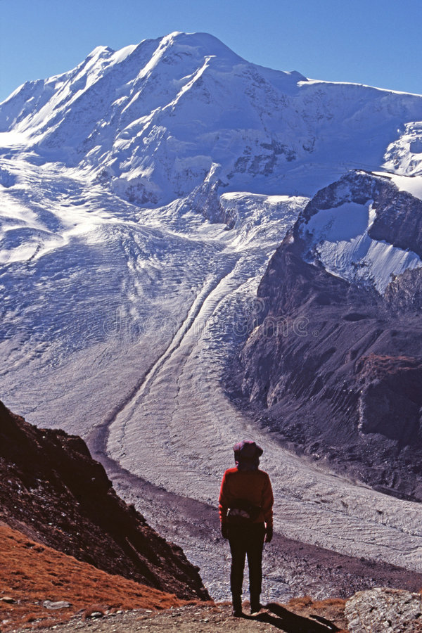 Hiker viewing glacier