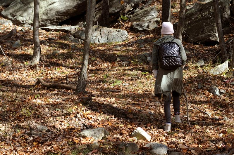Hiker walking in autumn forest in the mountains. Hiking and traveling royalty free stock images
