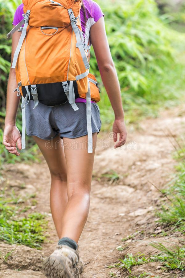 Hiker woman hiking with backpack on nature trail stock image