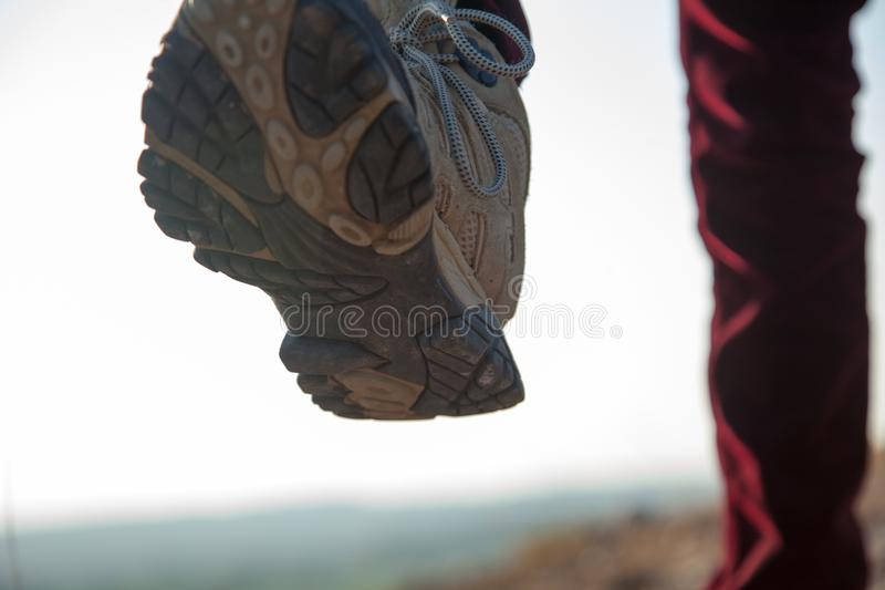 A hiker walking on a path stock image