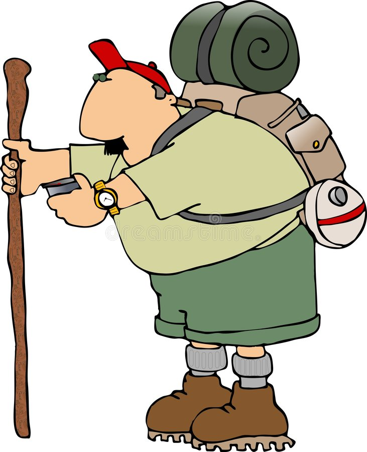 Hiker with a walking stick royalty free illustration