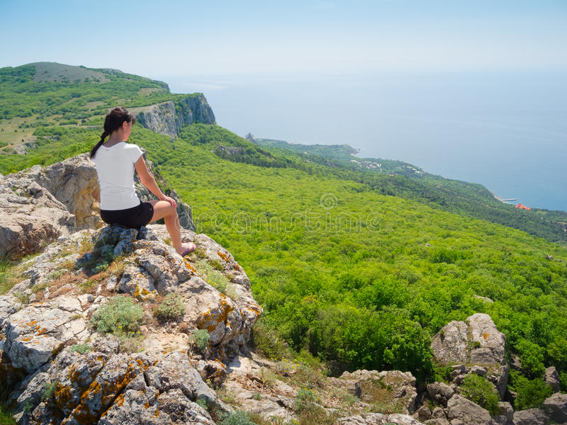 Hiker watch the terrain