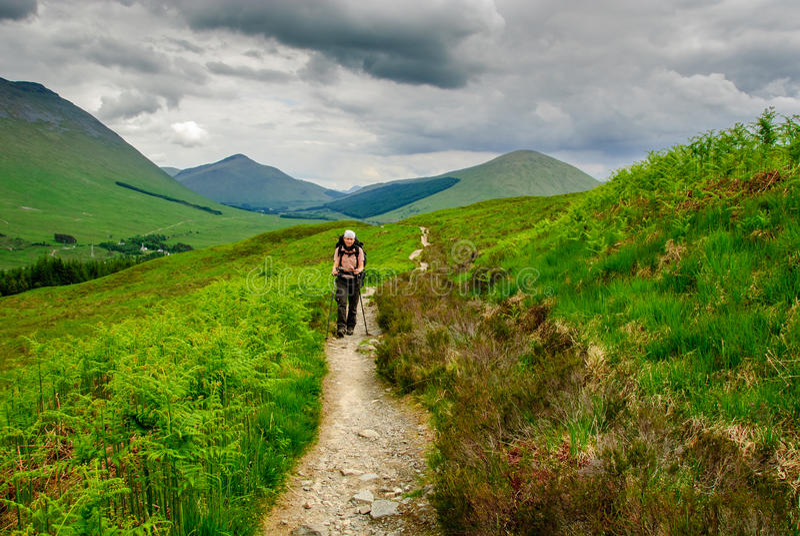 Hiker West Highland Way scotland. Hiker on the West Highland Way scotland stock photos