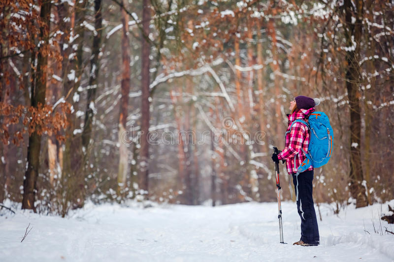 Hiker in winter forest. Sport, inspiration and travel. Young happy woman cross country walking in mountains on snow winter day royalty free stock photo