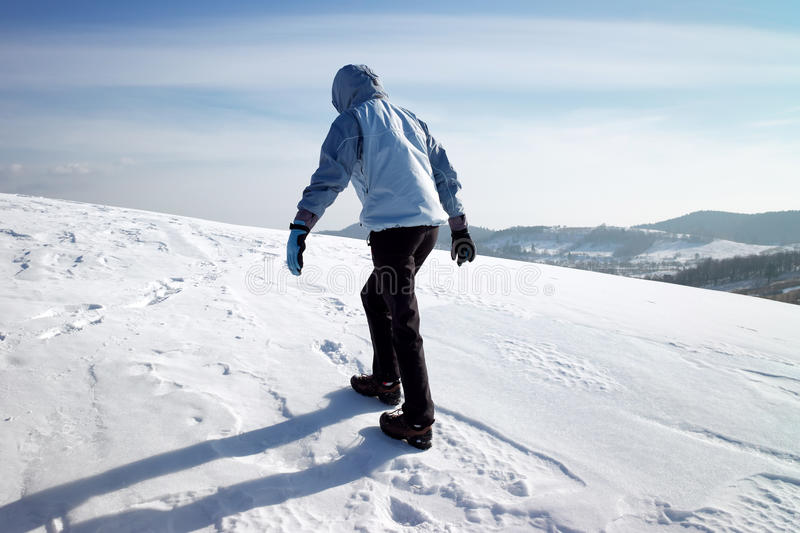 Download Hiker On The Winter Snow Field Stock Image - Image: 13130911