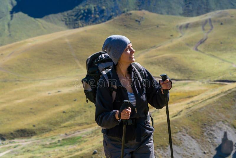 Hiker woman walking mountains stock images