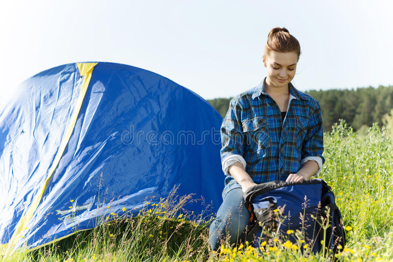 Hiker woman in summer forest stock photography