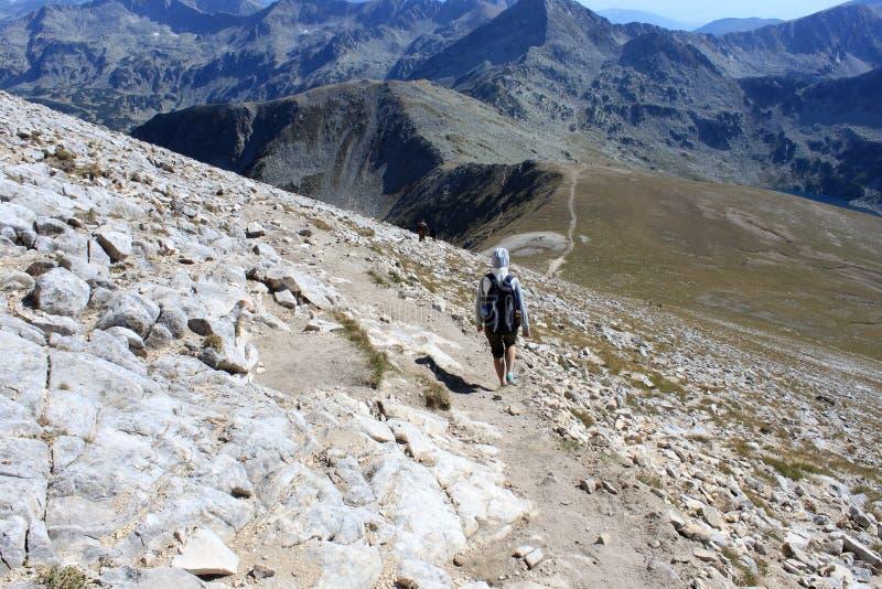 Hikers в горах стоковые фотографии rf