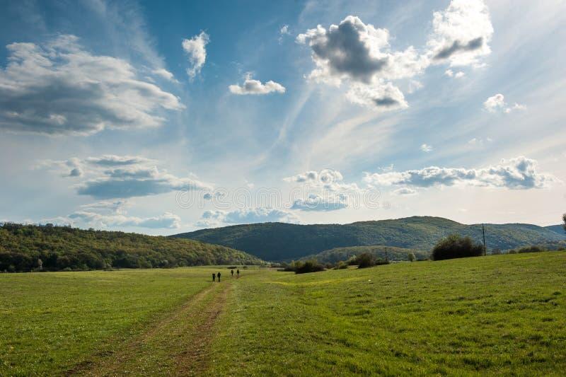 Hikers на зеленом луге с драматическим облачным небом Задний взгляд груп стоковые фотографии rf