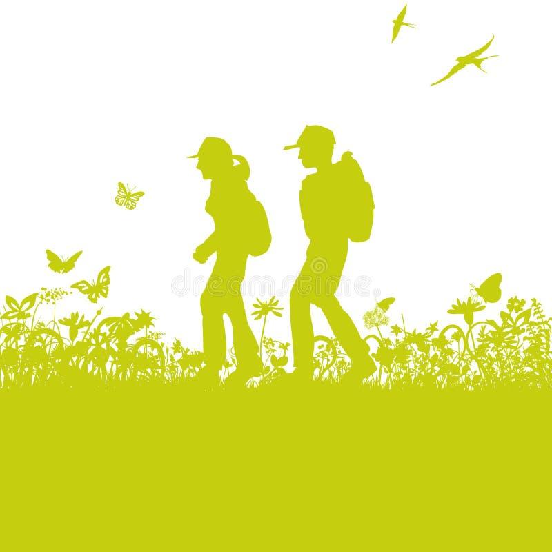 Hikers на следе бесплатная иллюстрация