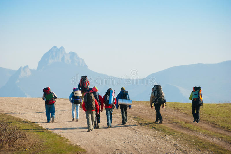 Download Hikers stock image. Image of friendship, group, sunny - 13940747