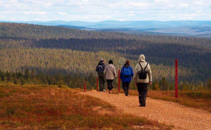 Hikers in Inari, Saariselkä, Finland stock photo