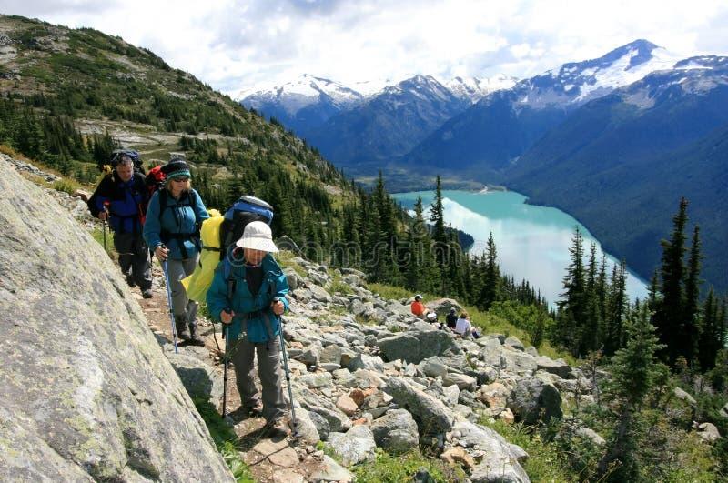Hikers Above Garibaldi Lake stock photography