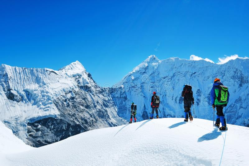 Hikers with backpacks reaches the summit of mountain peak. Success freedom and happiness achievement in mountains. Active sport stock image