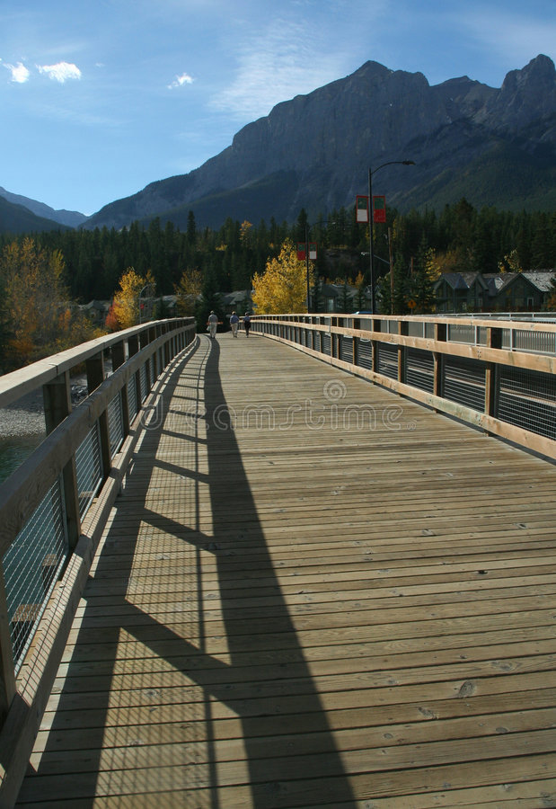 Download Hikers On Bridge Over Bow River Royalty Free Stock Photos - Image: 1452868
