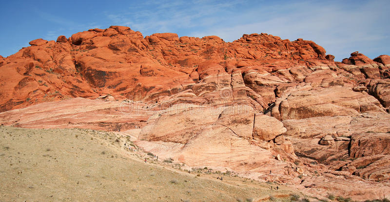 Download Hikers And Climbers Dwarfed By Red Rock Canyon Stock Photo - Image of landscape, cliffs: 17828158