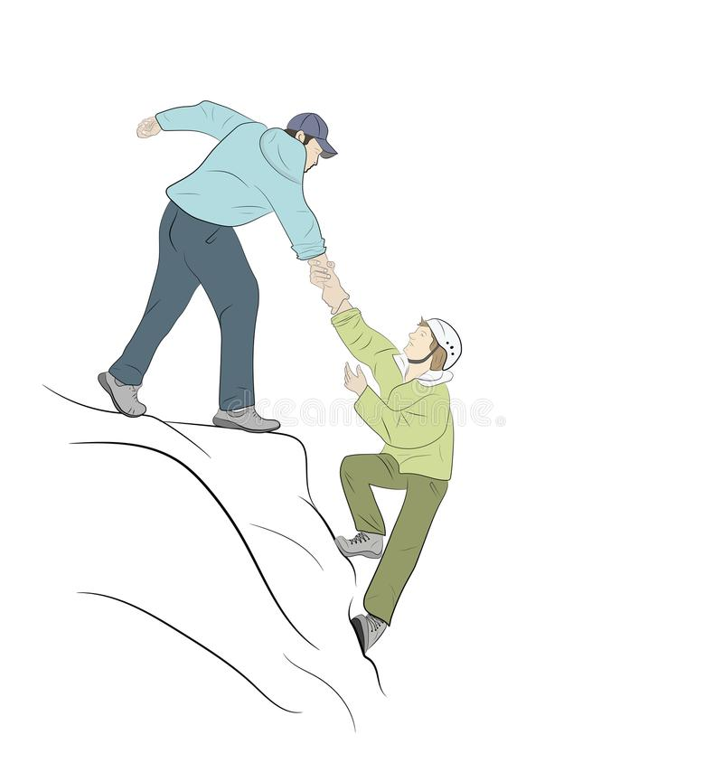 Hikers climbing on rock, mountain, one of them giving hand vector illustration