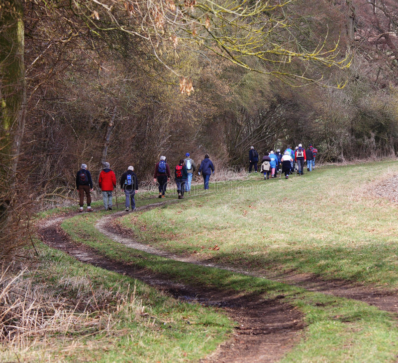 Hikers On An English Country Trail Stock Image