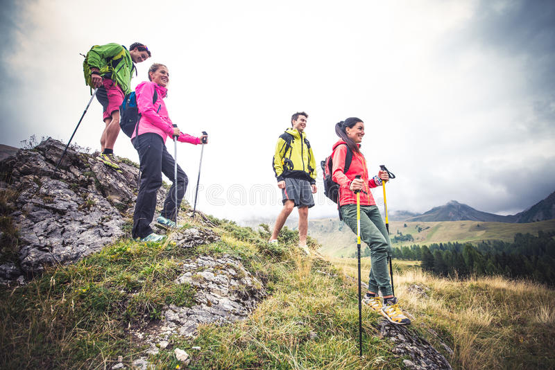 Hikers on excursion royalty free stock photography