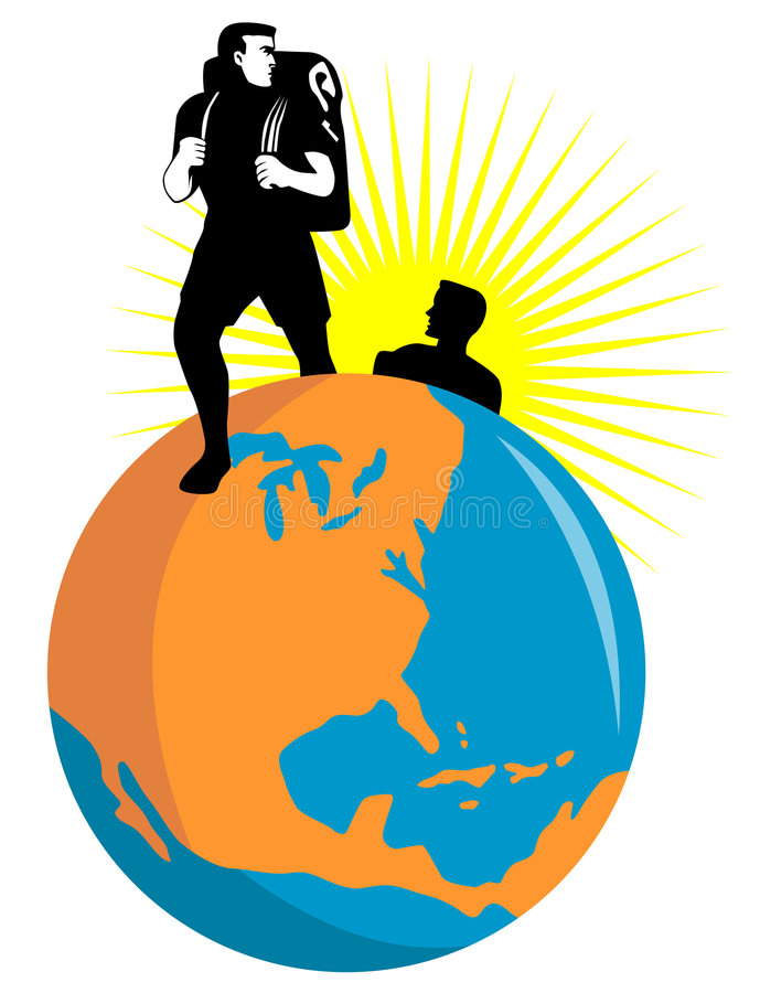 Hikers with globe. Vector art on hiking and global travel