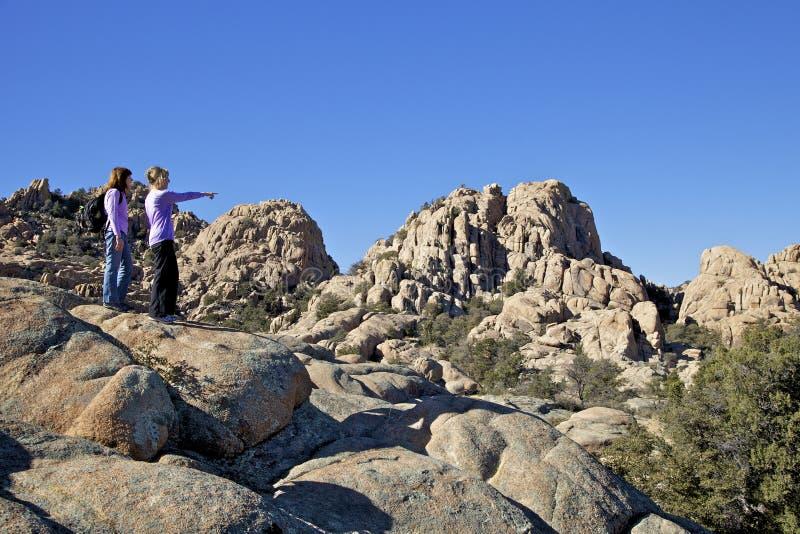 Hikers in the Granite Dells. Women take in the rugged scenic granite dells prescott arizona stock photos