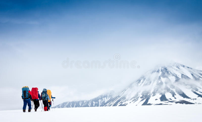 Hikers group in hike royalty free stock photo