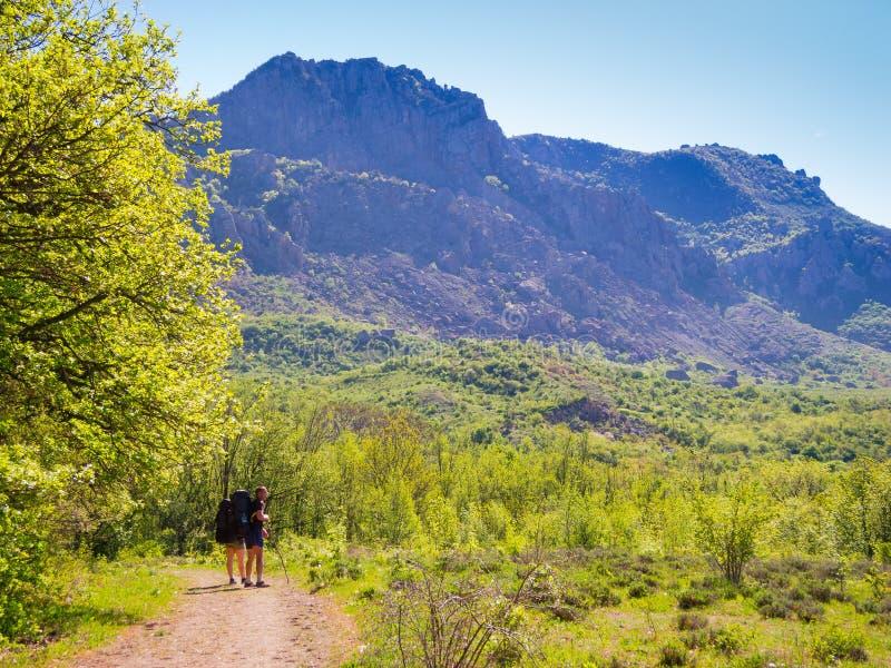 Hikers group trekking in Crimea