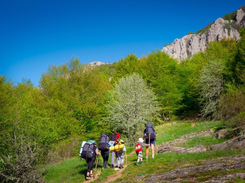 Hikers Group Trekking In Crimea Stock Photo