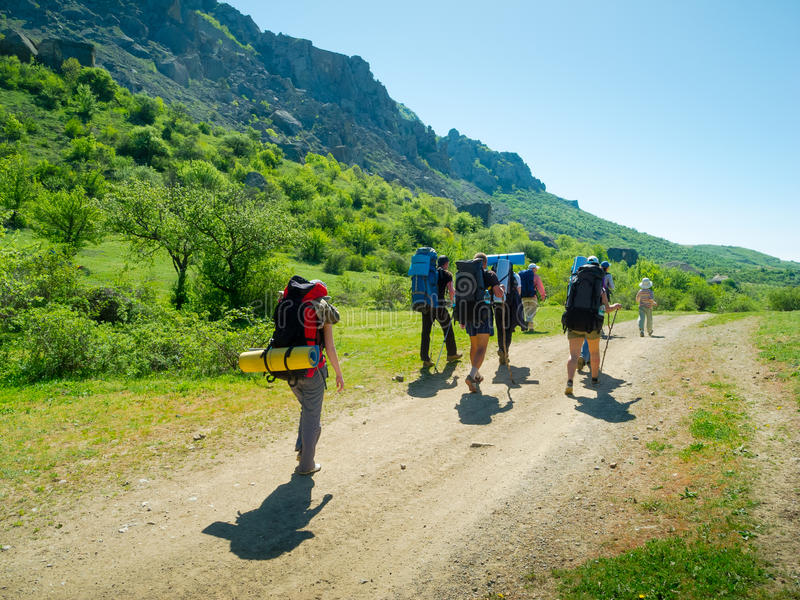 Download Hikers Group Trekking In Crimea Stock Photo - Image of people, caucasian: 35846228