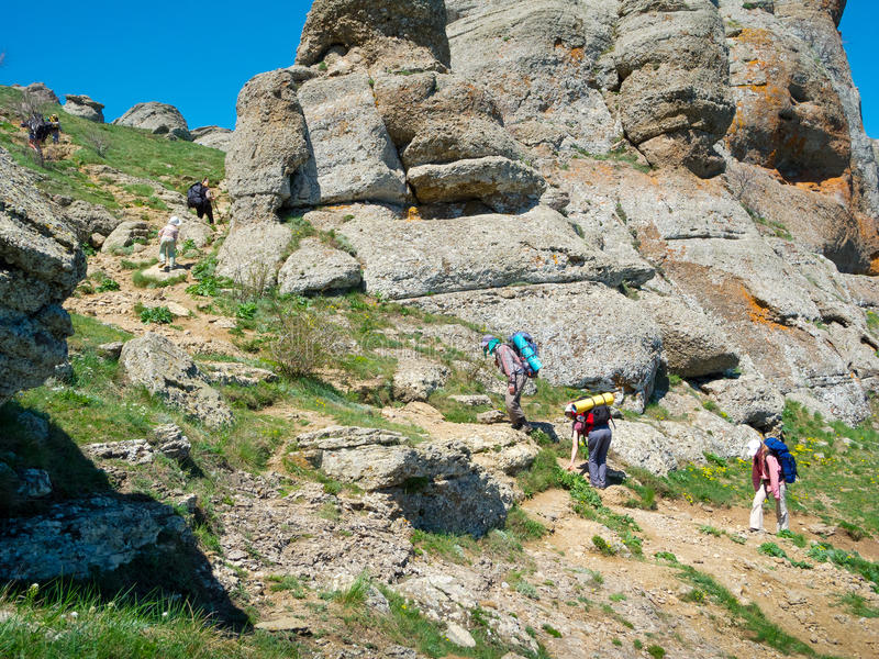 Download Hikers Group Trekking In Crimea Stock Image - Image of green, ghost: 35846309