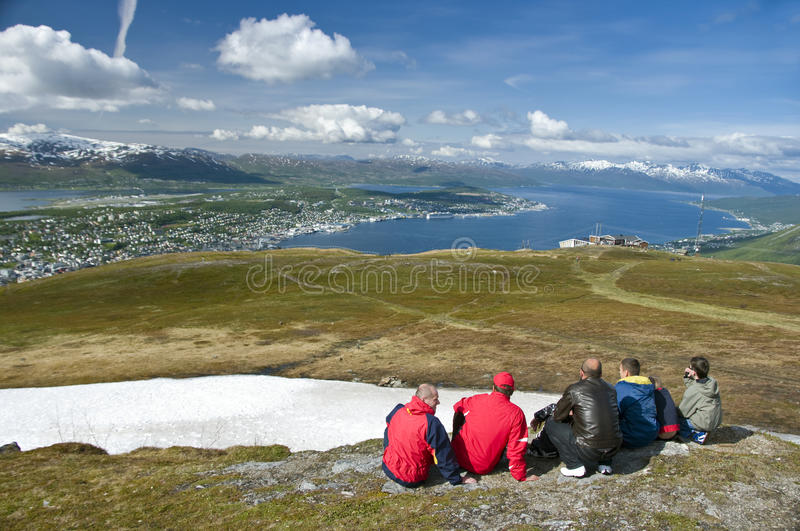 Download Hikers Looking At Tromso City Stock Photo - Image: 10068628