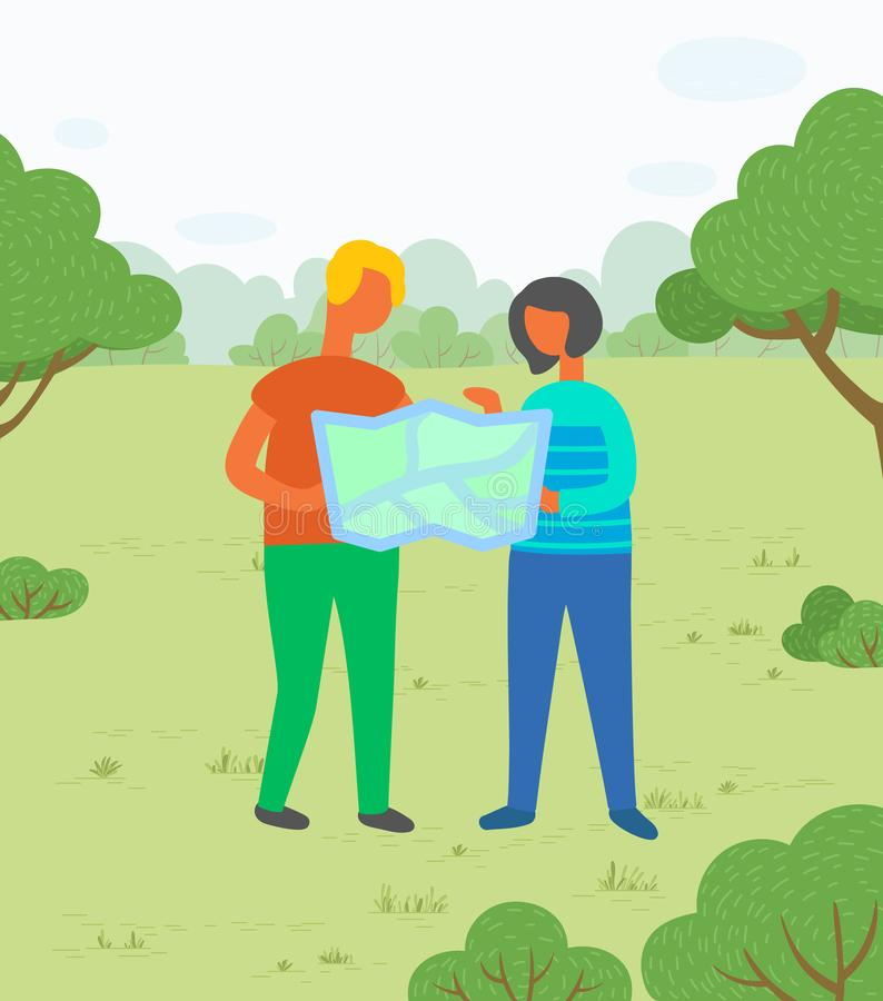 Hikers with Map in City Park, Couple on Meadow. Travelers or hikers, couple with map, vacation or holidays vector. Man and woman in park, exploring land or royalty free illustration