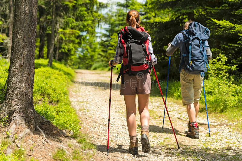Hikers on path with trekking poles stock photo