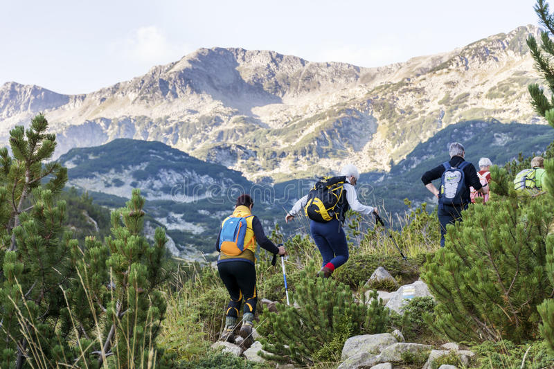 Hikers in Pirin mountain,Bulgaria royalty free stock images