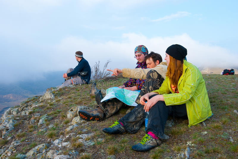 Download Hikers sit on the peak stock image. Image of friends - 13836809