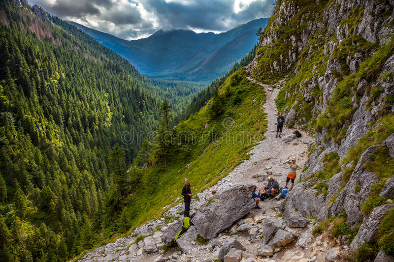 Hikers stopped to rest stock photography